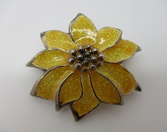 Silver Tone Sparkly Yellow Enameled Flower Brooch & Pendant