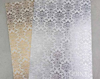 Foil Stamped Gold and Silver Damask A4 sheets - 10 pack