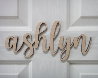 Last Name Wall Decor cursive wood name | etsy