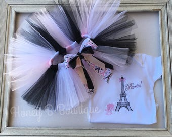 Paris Tutu Outfit, Baby Girl Paris Tutu, Paris Birthday Tutu, Paris Tutu Set, Paris Birthday Tutu Set, Paris Tutu
