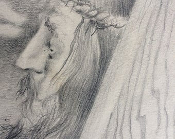 JESUS  copy of Pencil drawing by Dorothy Messenger, a print on paper, copyrighted, old, 1950's?