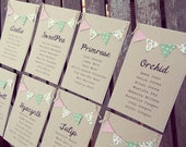 Custom Listing for Sarah E - Table Plan Cards and number cards. Brown Kraft card with Country Cottage pink and green bunting