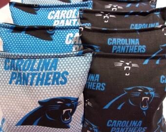8 ACA Regulation Cornhole Bags - 8 handmade from Carolina Panthers Fabric
