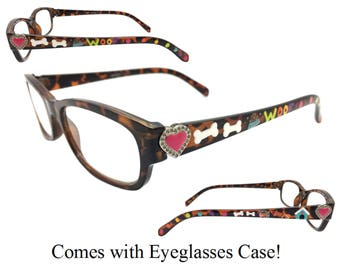 Women's Tortoise 2.75 Strength Hand Painted Dog Themed Reading Glasses with Heart Detail. Comes with Eyeglasses Case!