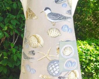 Apron, Full Length with Pocket, Medium Size, Handmade Cotton Fabric with Shells Birds Beach, Beige Blue Grey, Appliqué Pocket, Women's Gift