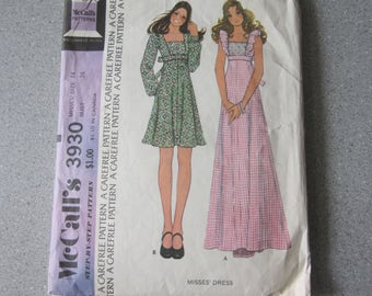 1974 McCall's Misses' Dress Pattern, Size 14, Bust 36