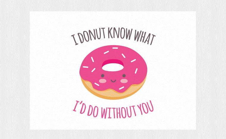 Happy Valentine S Day Card Wuth Donut Kawaii Pdf Diy