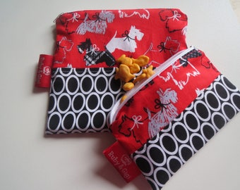 Reusable sandwich bag and snack bag set! - Zippered pouch- scottie dog fabric -eco friendly - Lined with Rip Stop Nylon-Ready to Ship!