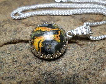 Bumble Bee Jasper Pendant,Jasper Pendant,Fine Jewelry,One Of A Kind Necklace,Volcanic Gemstone