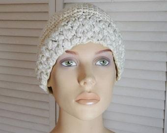 White Crochet Beanie Skull Cap Thick Cotton Yarn with Silver Thread Wide Brim Vintage Hat