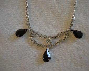 Vintage Austrian Crystal Black and White Necklace A+ Condition Teardrop Victorian Style #44