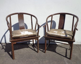 High Quality Pair Of Chairs Ming James Mont Style Ming Chinese Chippendale Regency Armchair  Horseshoe Lacquer Chinoiserie Seating