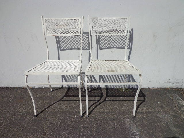 Patio Chairs Pair Russell Woodard Metal Mesh Wrought Iron