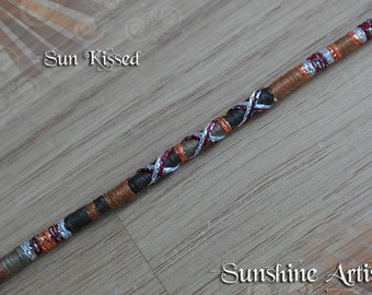 Hair Wrap, Sun Kissed, wooden beads, dark brown, beige tan, sparkly silver, rusty orange, deep red, hair extension, hair clip in, hair braid