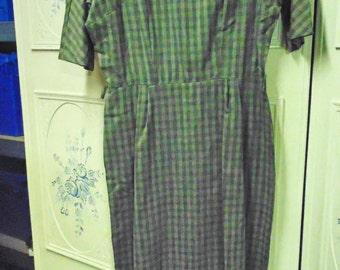 1950 Green Plaid Dress, Size 18