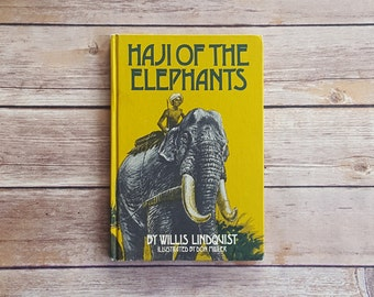 Kids Elephant Book Haji Of The Elephants 70s Retro Book Club Read Elephant Theme Room Decor Yellow Prop Indian Tale Cute Childrens Story