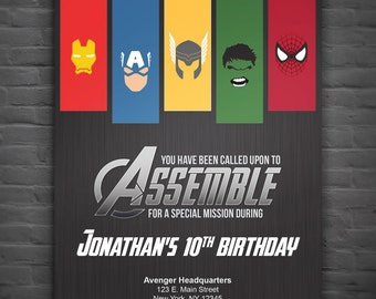 Avengers Birthday Party Invitation - Digital File