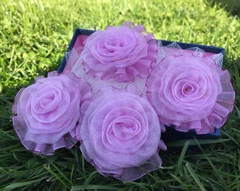 5 psc Light Purple Organza Flowers, Organza Roses,aproxx 67 mm