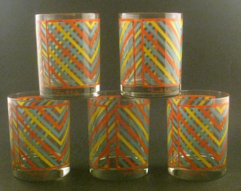 Vintage Georges Briard Glasses (5), Chevron Pattern, Blue Yellow Red/Orange, Double Old Fashioned Rocks, Mid Century Barware