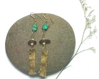 Hammered gold earrings, long dangle earrings, long turquoise earrings, earthy earrings, beach glass jewelry, long gold earrings,