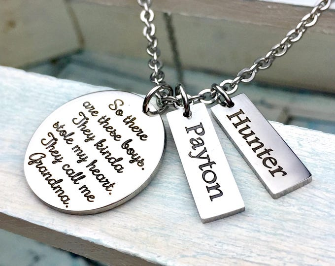 These Boys Stole My Heart Personalized Pendant Set