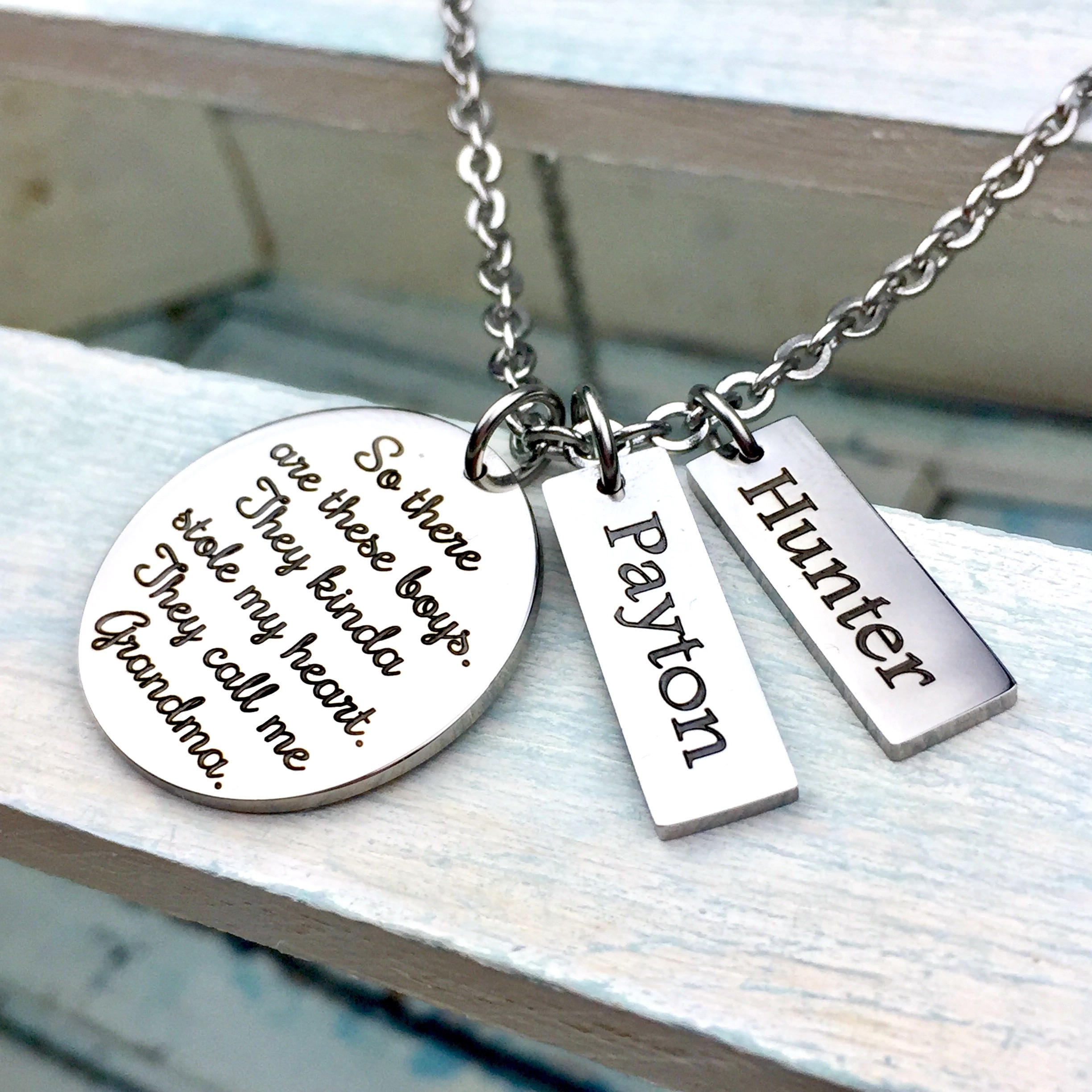 These Boys Stole My Heart Personalized Pendant Set, mother's ...