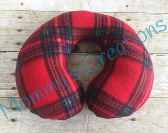 Children's Fleece Travel Neck Pillow Red Plaid