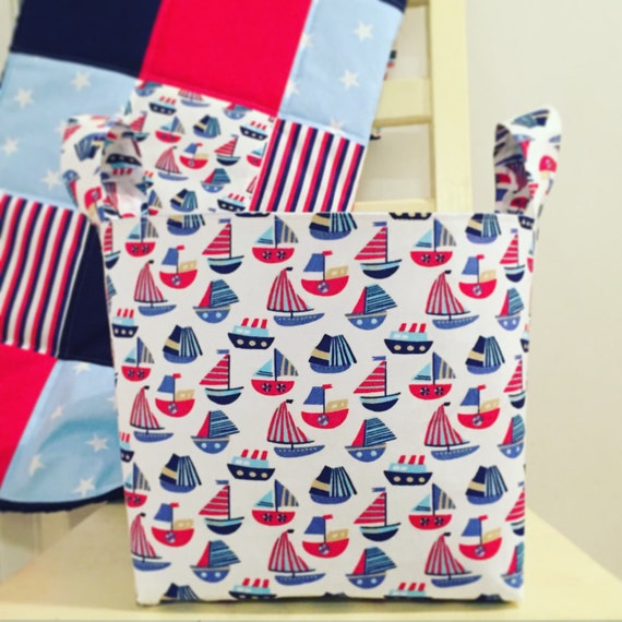 Nautical nappy baskets nursery storage toy by for Nautical nursery fabric