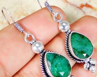 Emerald 925 earrings