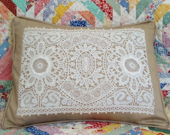 Vintage Lace and Cotton Twill Shabby Chic Lumbar Pillow