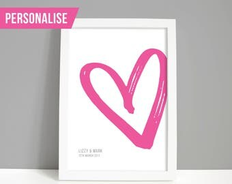 Personalised wedding gift, Wedding print, Engagement present, Anniversary gift, Heart A4 or A5 print