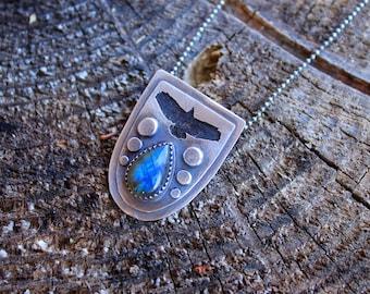 Labradorite & Oxidized Sterling Silver Soaring Hawk Pendant Necklace