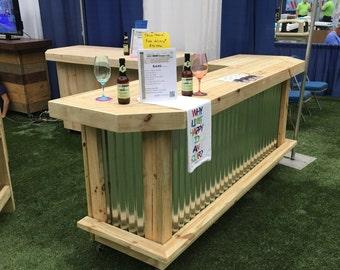The orignal l 7 39 x 4 5 39 l shaped rustic treated wood for U shaped outdoor bar