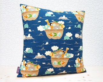 "Handmade 16""x16"" Cotton Cushion Pillow Cover in Blue/White Pin Dot with Noah Ark Animals Giraffe/Elephant/Lion/Rabbit Colourful Design Print"