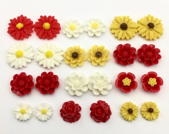 24 pcs resin cabochon flowers ,assorted sizes,#FL131