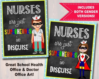 School Nurse Decor, Pediatric Nurse Decor, Nursing Sign INSTANT DOWNLOAD, Nurse Wall Art, Doctor Office Decor, Superhero Nurse Decoration