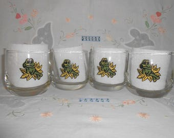 """1978 """"Frog Family"""" Juice Glasses by Sears"""