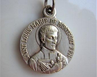 """Pendant / cross / antique religious medal, Saint Louis-Marie Grignon de Montfort, silver, 0.65"""""""