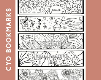 Spring Color Your Own Bookmarks, Color Your Own Bookmarks, Spring Bookmarks, Digital Color Your Own Bookmark, Bookmarks to Color