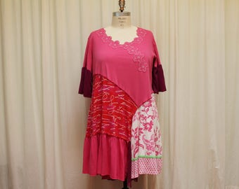 Plus size Boho dress Pink long top Shabby chic dress Summer clothes Loose fit dress Ladies fashion upcycled clothing Festival wear 2X-3X