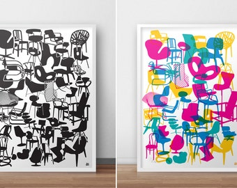 Shapes of Iconic Chairs. DOUBLE SIDED POSTER