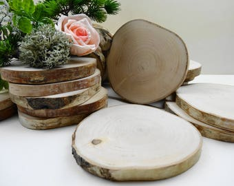 "4""-4.5"" Wood Slices, Birch Wood Slices, Ornaments, Tree Slices, Wedding Decor, Coasters,Woodworking, Diy Wedding Decor, (E57), Set of 10"