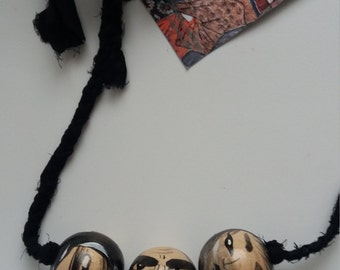 Designer Hand Made and Hand Painted Wooden Kokeshi Face Necklace