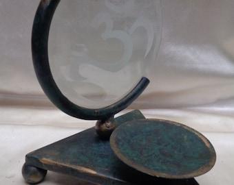 Beautiful Vintage Teal Metal Candle Holder w. Om Symbol on Round Beveled Glass