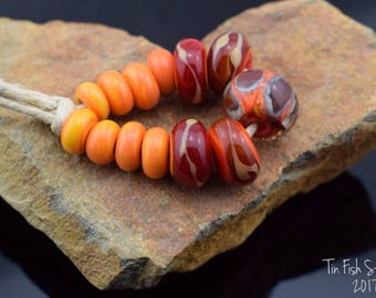 Red and Orange Handmade Glass Bead Set and Spacers