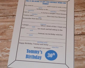 DIGITAL Birthday Mad Libs!