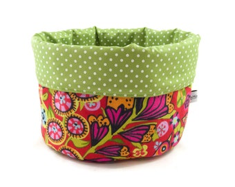 Fabric basket flowers red green bread basket accessories