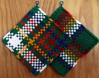 Pair of LARGE Handmade WOVEN Potholders HOTPADS in Green and Bright Colors