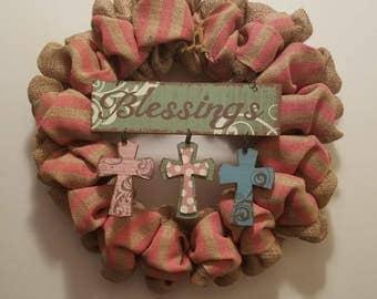 Blessings Cross - Burlap Wreath