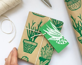 Green Cactus Succulents Wrapping Paper Kraft Paper Sheet
